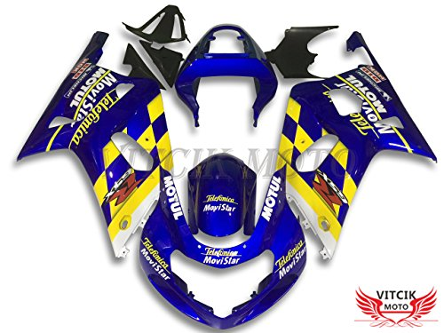VITCIK (Fairing Kits Fit for Suzuki GSX-R750 GSX-R600 K1 2001 2002 2003 Plastic ABS Injection Mold Complete Motorcycle Body Aftermarket Bodywork Frame (Blue & Yellow) A104