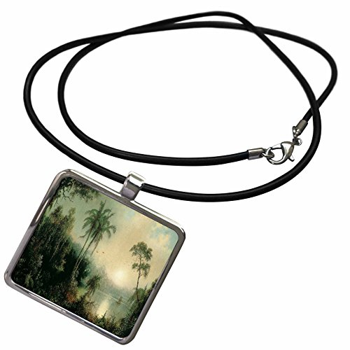 3dRose Florene Vintage Art - Image of Heades 1800s Painting Sunrise in Nicaragua - Necklace with Rectangle Pendant (ncl_237445_1)