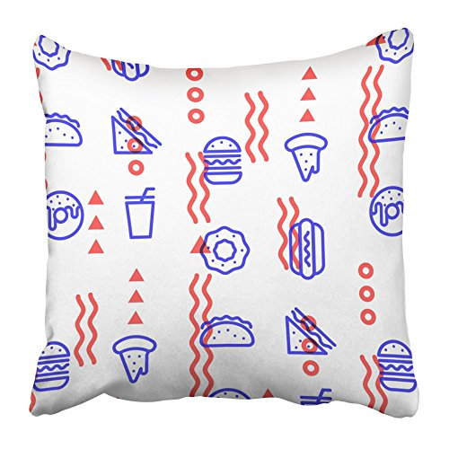 Emvency Decorative Throw Pillow Covers Cases Burger Fast Food Linear Outline Pattern Design Pizza Hamburger Donut Doodle Hot Dog Sandwich 16x16 inches Pillowcases Case Cover Cushion Two -