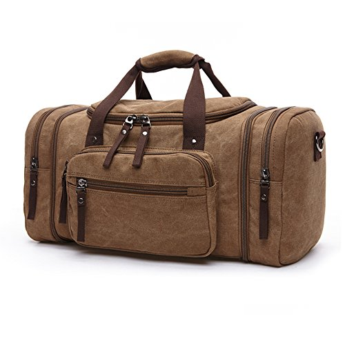 Handbag Capacity Canvas Shoulder Retro Travel Style Single Bag Brown Large British Gendi xS07qwcOw