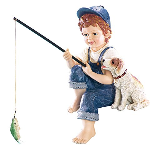 (Collections Etc Little Boy Fishing Outdoor Garden Pond Sculpture, Blue)