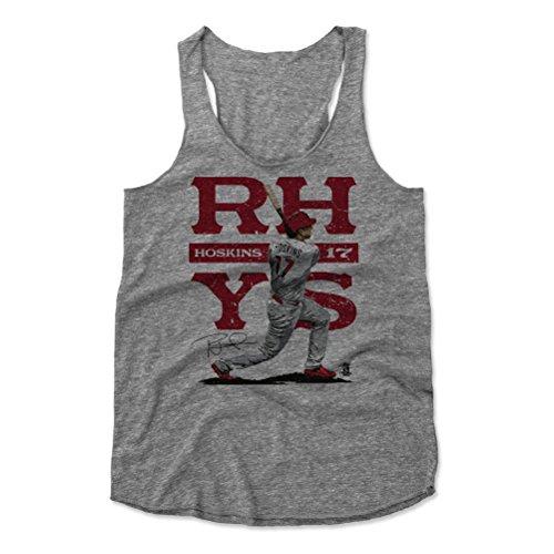 - 500 LEVEL Rhys Hoskins Women's Tank Top Small Heather Gray - Philadelphia Baseball Women's Apparel - Rhys Hoskins Split R
