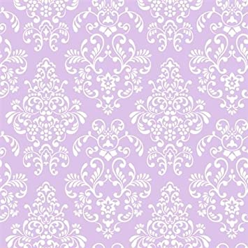 York Wallcoverings Just Kids KD1756 Delicate Document Damask Wallpaper Purple By