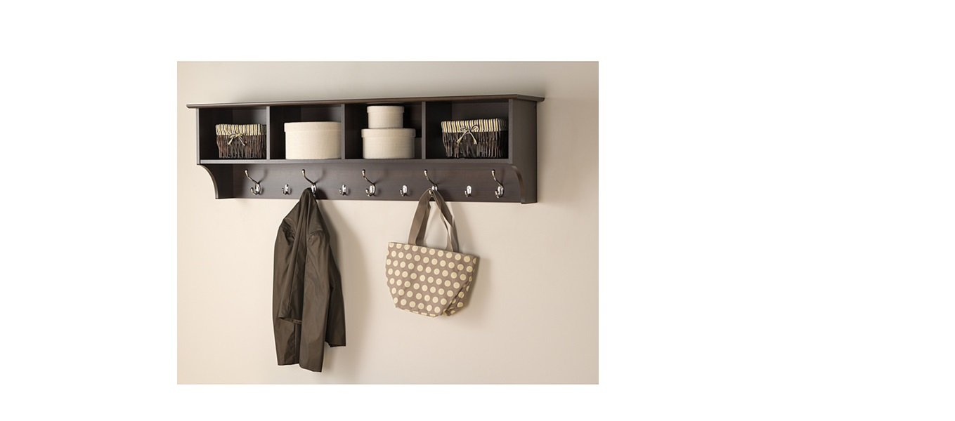 Hanging Entryway Shelves For Kitchen, Everett Espresso
