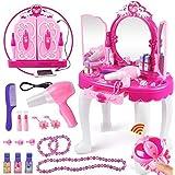 Yosooo Girls Dressing Make Up Table Kids Toy Vanities Mirror Pretend Makeup Vanity Table Set