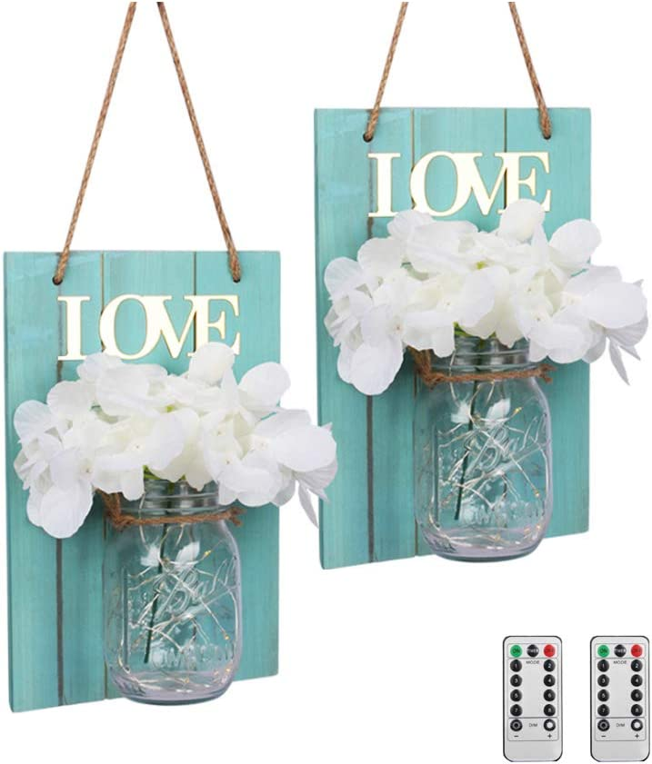 MD Lighting Mason Jar Sconces Wall Decor with Remote Control, with Warm White LED Fairy Lights and White Hydrangea Flower, Romantic Vintage Style Mason Jar Light for Home Bedroom Bathroom Decoration