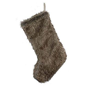 Amazon.com: St Nicholas Square Brown Faux Fur Christmas Stocking ...