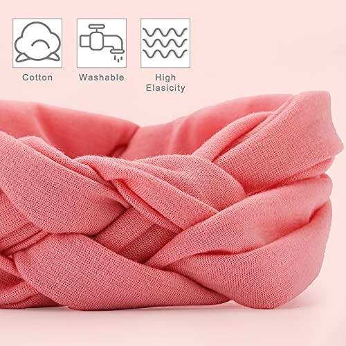 3 otters Knotted Headband, 8pcs Women\'s Stretchy Cross Hair Turban Chinese Knot Headband, Soft and Comfortable Fashion Hair Band for Sports Yoga Makeup, 8 Colors