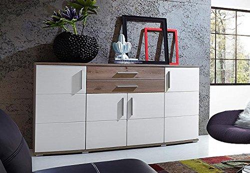 AVANTI TRENDSTORE - Sideboard weiß in Eiche Dekor, ca. 171x102x50 cm