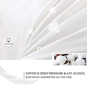 QUEEN ROSE 65 inch Body Pillow King size / Maternity Support Pillow for Neck Pain with 100% Hypoallergenic Removable Pillow Cover(Full White)