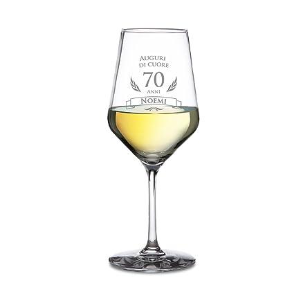 AMAVEL - Calice da Vino Bianco con Incisione per Il Compleanno - Auguri di  Cuore - 70 Anni - Personalizzato ... fbf3dcaa9320