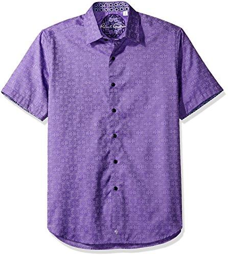 Robert Graham Men's Classic Fit Woven Short Sleeve Button Down Shirt,Violet,Medium