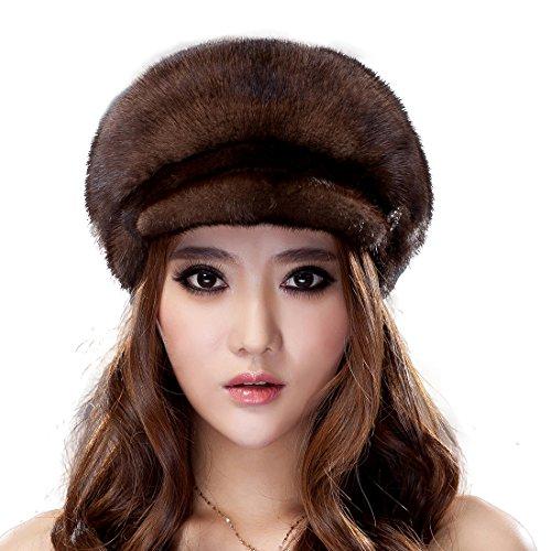URSFUR Mink Fur Women's Peak Cap Riding Hat With Brim Coffee by URSFUR