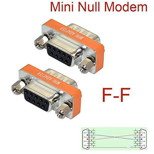 GuangMaoBo DB9 Gender Changer Null Modem Female to Female Plug Adapter Connector Cross RS232 Slimline Data Transfer