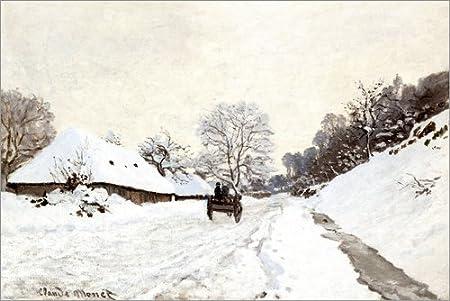 Posterlounge Cuadro de Madera 90 x 60 cm: The Cart, Honfleur de Claude Monet
