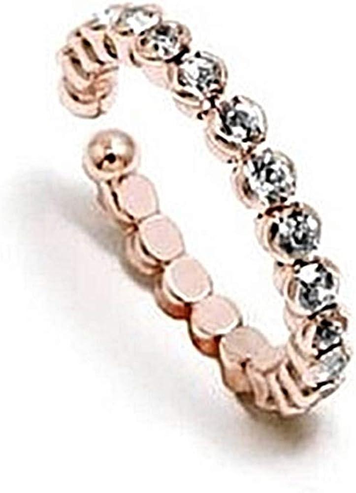 Sortija Pertegaz colección Kylie ajustable abierta tono rosado piedras circonitas redondas