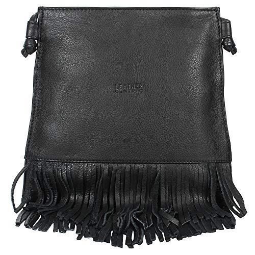 Leather Fringe Crossbody Bag for Women - Ladies Handbag Tassel Shoulder Hobo Bags (Medium, Black)