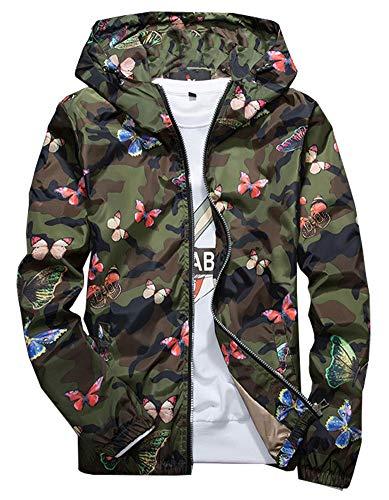 MissBloom Women's Junior Camo Printed Windbreaker Zip Up Jacket (Womens Camo Rain Coats)