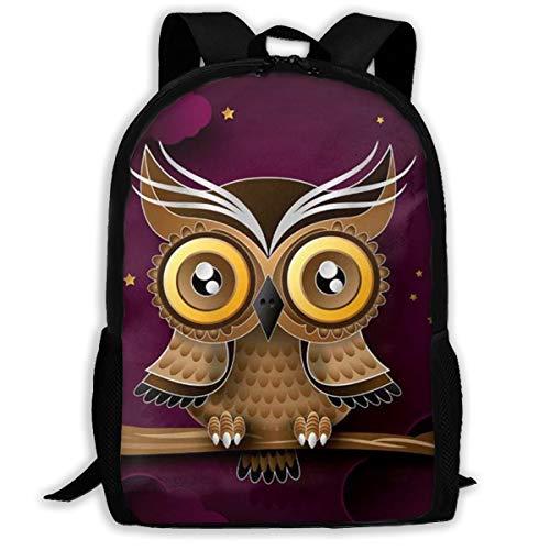 Klnsha7 Cute Owl Branch Purple Moon Bird Night Laptop Backpack,Travel Computer Bag for Women & Men,Anti Theft Water Resistant College School Bookbag,Slim Business Backpack. (Night Owl Camera Pen)