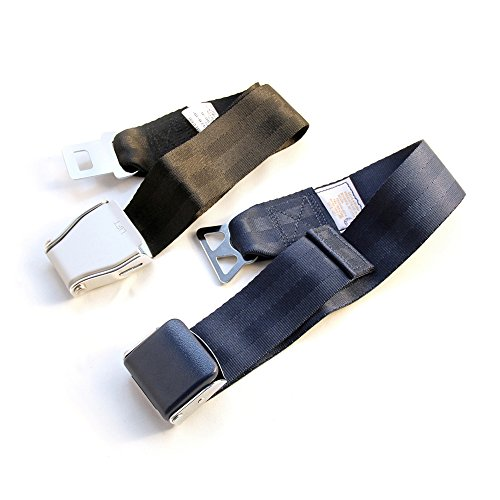 FAA Approved / E4 Safety Certified - Airplane Seat Belt Extender 2-Pack - FITS All Airlines (Type A + B) - Free Velour Pouch