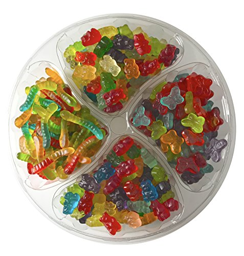 - Happy Candy Gummi Candy Mix Party & Gift Tray - Featuring Gummi Bears, Gummi Worms & Gummi Butterflies - Resealable, 2.5 lbs (40 oz)