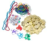 Pirate Bag Full Of Treasures Mega Pirate Booty Treasures Pirate Loot Coins and Gems Treasure Map Pirate Props for Treasure Hunt Game, Party Favors, Stocking Suffers or Treat Bags Value Pack 192 Gems