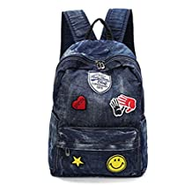 D-Sun Denim Canvas Shoulder Bag Student Fashion Casual Backpack Jean Bag with Patches