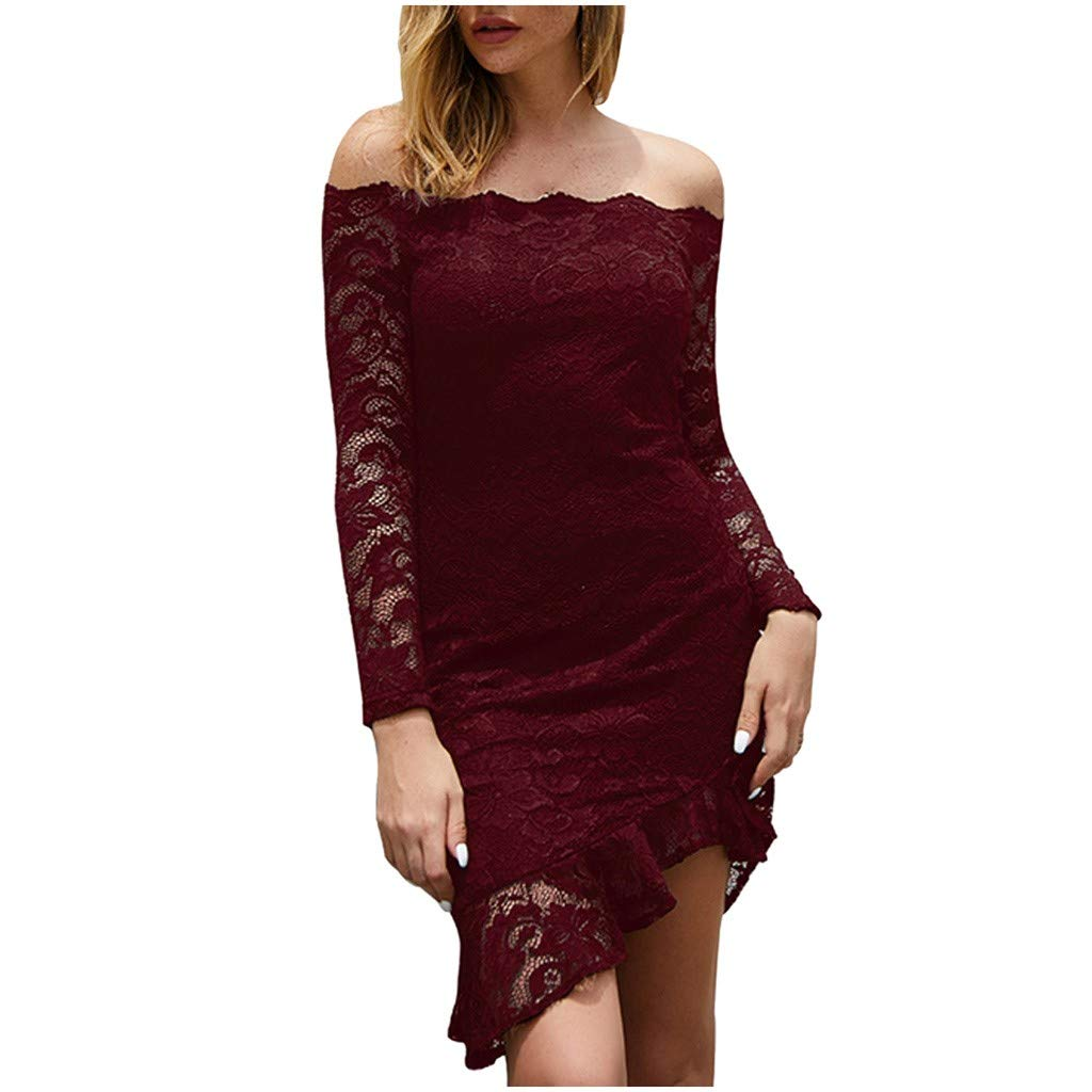 TRENDINAO Off Shoulder Women Dress for Special Occasions Sexy Split Lace Solid Long Sleeve Flowers Print Slim Pencil Dress Wine by TRENDINAO