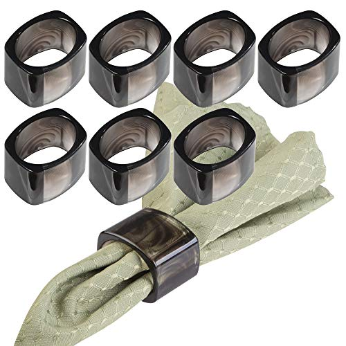 mDesign Napkin Rings for Home, Kitchen, Dining Room Table - Pack of 8, Black