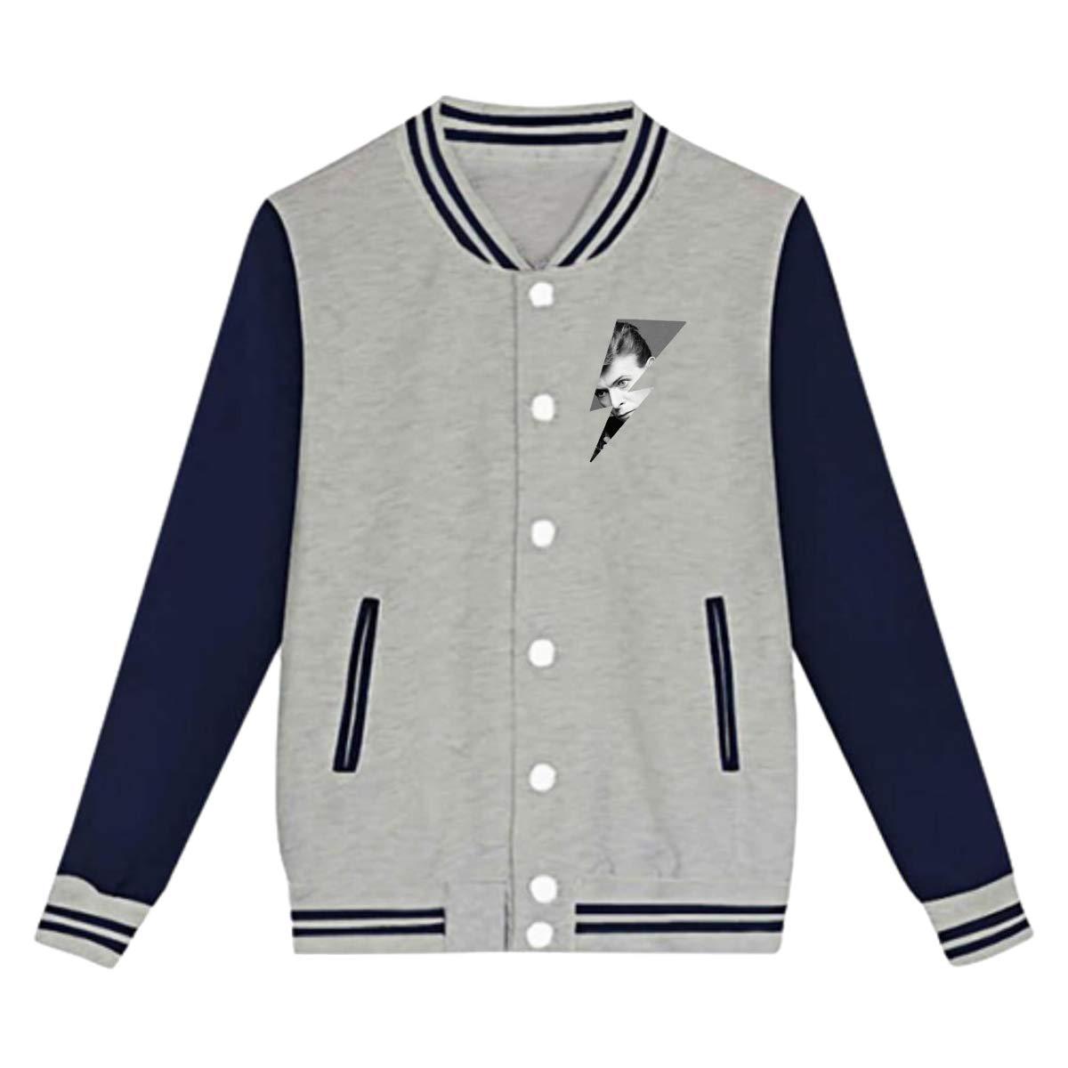 LIALUER David Bowie Logo Design Boys Kids Baseball Jacket Uniform V Sweater Coat