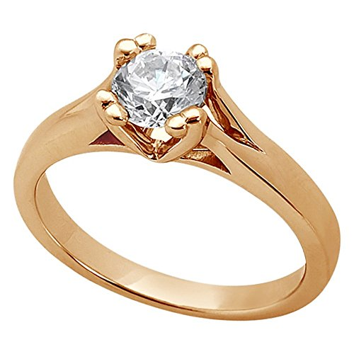 Double Prong Trellis Engagement Ring Setting in 18k Rose Gold 18k Gold Trellis Setting