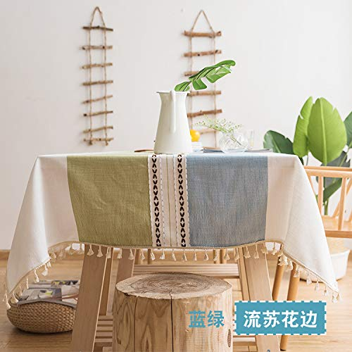 lym1108 Waterproof Cotton and Linen Gray Lace Embroidered Tablecloth Tablecloth Rectangular Table Cloth Coffee Table Cover Towel C-2 140160Cm