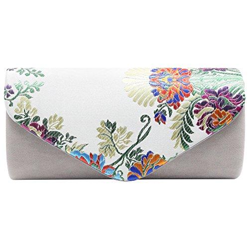 Wiwsi Women's Elegant Floral Print Wallet Long Purse Fashion Evening Clutch Bag(Royal Blue) Silver