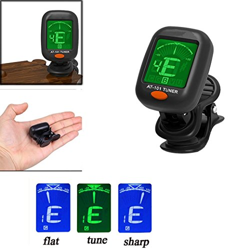 LtrottedJ Digital Chromatic LCD Clip-On Electric Tuner for Bass, Guitar, Ukulele, Violin