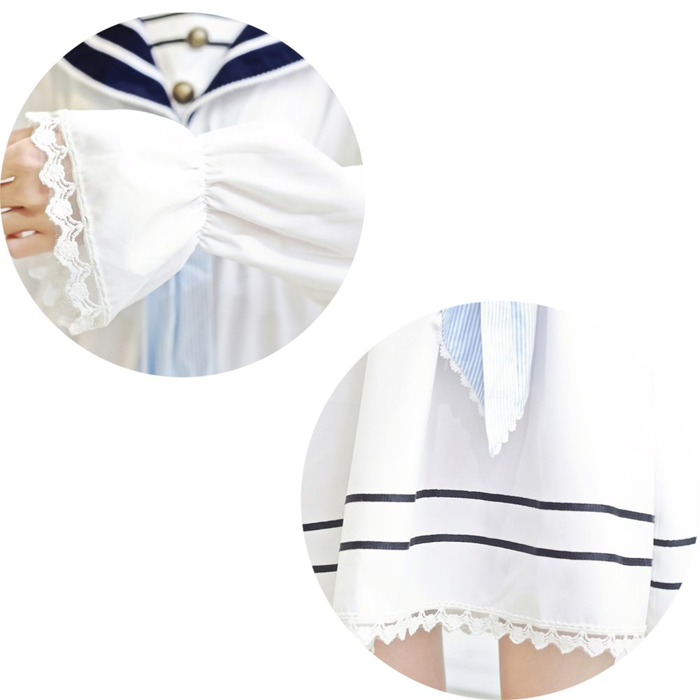 Lemail Girls Sailor School Uniform Chiffon Japanese Long Sleeve Pleated Mini Dress Blue 3XL by Lemail wig (Image #7)