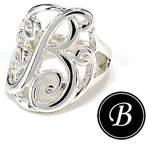 Jewelry Nexus Initial B Monogram Silver-tone Stretch Ring in a Gift Box