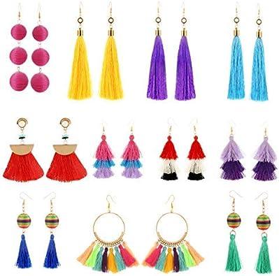 11 pares coloridos pendientes largos con forma de bola de rosca de color amarillo rojo turquesa borla flecos bohemios con borla pendientes soriee Stud Pendientes Set de regalo para niñas y mujeres