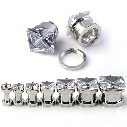 PiercingJ Pair 6g- 1/2 Inch Stainless Steel Cubic Zirconia Screw Tunnels Ear Stretcher Plugs Piercing Gauge (2g=6mm Clear White) - Square Tunnel