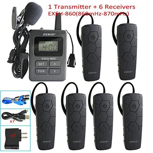 EXMAX 860-870mHz Wireless Language Interpretation System Headset Mini Ear-hook Receiver 99 Channels for Church,Simultaneous Interpreting,Translation,Hajj,Conference,Travel(1 Transmitter 6 Receivers)