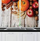 New bath Fruits Decor Collection, Wood Background with Pumpkin Apples Wheat Honey and Nuts Farmhouse Rural Image, Window Treatments for Kitchen Curtains 2 Panels, 55 X 39 Inches, Orange Red Peru Tan