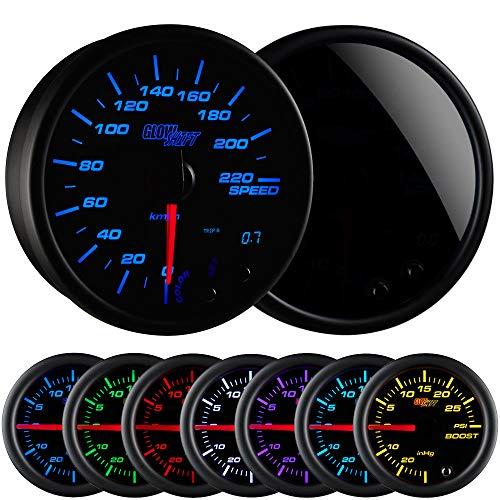 GlowShift Tinted 7 Color 220 Kilometer KM Speedometer Gauge Kit - Mounts in Custom Dashboard - Resettable Trip Meter - Black Dial - Smoked Lens - 3-3/4 95mm