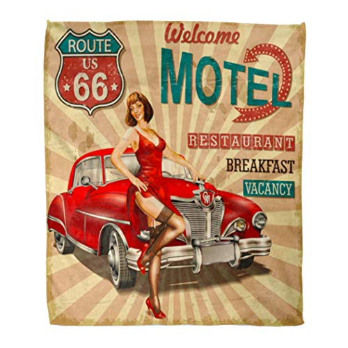 Traditional Trip Road American (Emvency Decorative Throw Blanket 50 x 60 Inches Car Motel Route 66 Vintage Retro American Girl Sign Old Road Trip Warm Flannel Soft Blanket for Couch Sofa Bed)