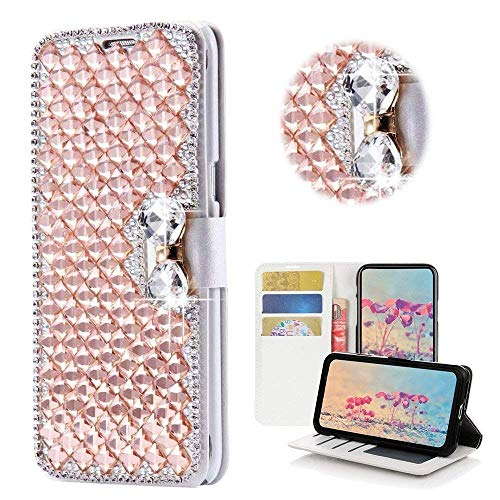 LG Stylo 3 Case, LG Stylus 3 Wallet Case, LG Stylo 3 Plus Bling Diamond Bowknot Shiny Crystal Rhinestone Purse PU Leather Card Slot Pouch Flip Cover Kickstand Case for Girl Woman Lady (Rose gold) - Ladies Rose Gold Case