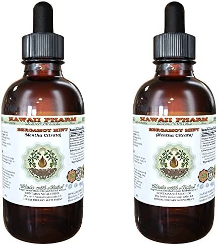 Bergamot Alcohol-FREE Liquid Extract, Bergamot (Citrus Bergamia) Dried Fruit Peel Glycerite Hawaii Pharm Natural Herbal Supplement 2x2 oz