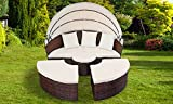 Garden Haven (TM) Rattan Garden Day Bed Lounger with Black Table Furniture Set
