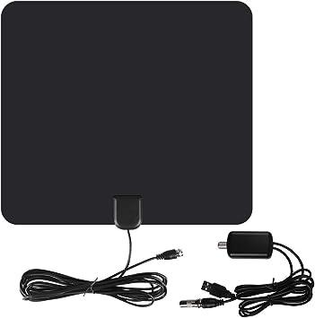 Antena de 50 Millas Alcance Antena de interior digital HD 1080P con USB Powered desmontable Amplificador Señal Booster 13 Ft larga sin cable para ...