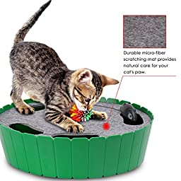 Pawaboo Pet Teasing Toy, Hide and Seek Electronic Mouse Hunt Interactive Cat Toy, Green