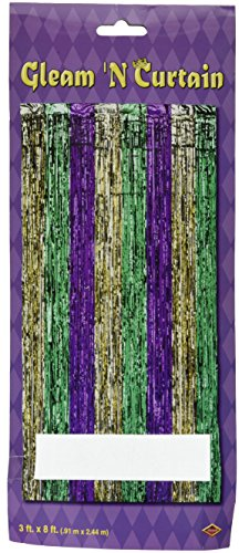 1-Ply FR Gleam 'N Curtain (gold, green, purple) Party Accessory  (1 count) (1/Pkg) ()