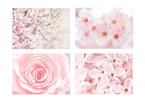 Pink Botanical Wall Art, Flower and Blossom Pictures Gift Set, 5x7 prints (set of 4) with 8x10 Mats, Fits 8x10 frame 'Pink' by Offley Green