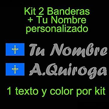 Vinilin - Pegatina Vinilo Bandera Asturias + tu Nombre - Bici, Casco, Pala De Padel, Monopatin, Coche, etc. Kit de Dos Vinilos (Gris Oscuro)